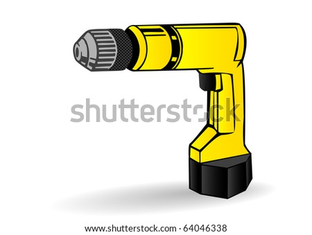 illustration a yellow drill on a white background.