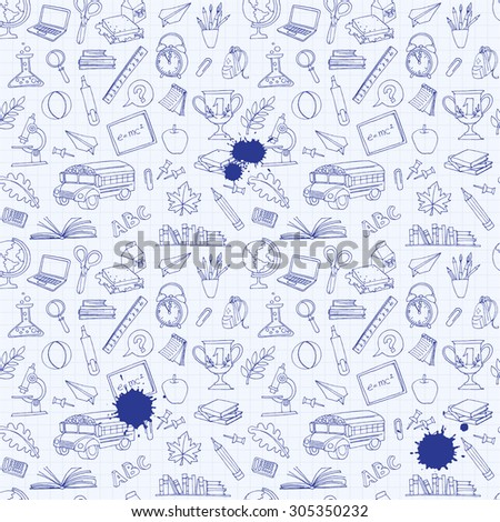 illustration  Back to school seamless pattern of kids doodles with bus, books, computer, blackboard and world map on notebook grid sheet - stock photo