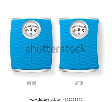 illustration Blue Bathroom Scale set isolated on a white background.  - stock photo