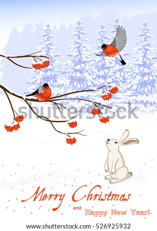 Illustration Christmas and New Year Greeting Card with Bullfinch Birds on a Rowan Tree Branch and White Hare collect berries in winter forest
