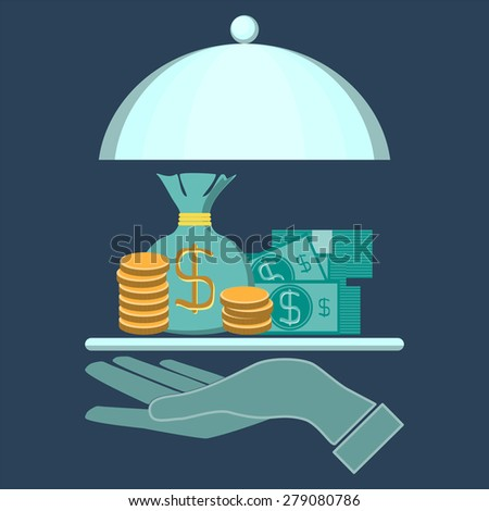 illustration concept of businessman offering a money on the serve plate for funding a commercial project or investment in bank deposit. Isolated on the blue background - stock photo