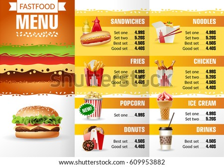 Illustration Design Menu Fast Food Restaurant. Brochure Template