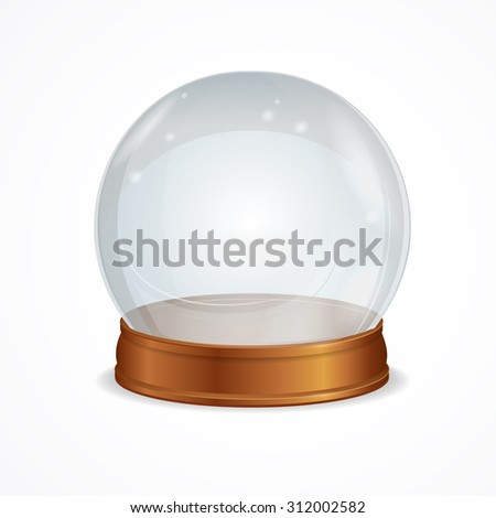 Illustration empty transparent crystal ball isolated on a white background. The symbol of witchcraft