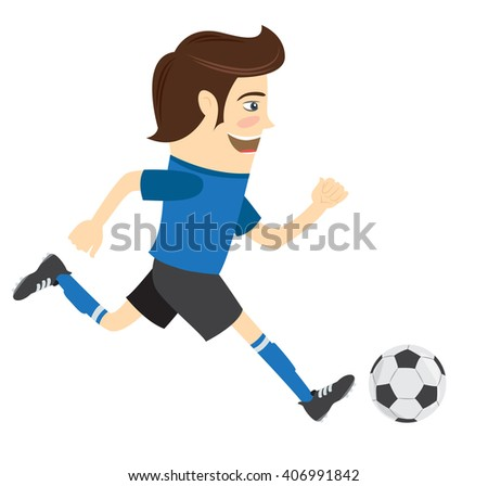 illustration Funny soccer football player wearing blue t-shirt running kicking a ball and smiling