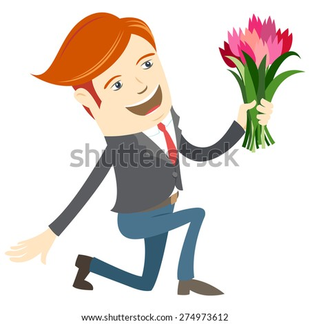 illustration Hipster funny man kneeling holding flowers. Flat style - stock photo