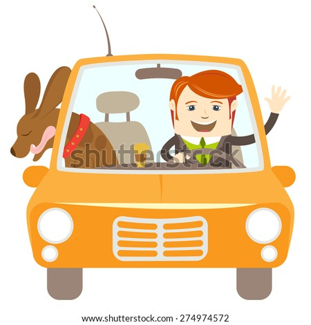 illustration Hipster-traveler driving a car with his dog - stock photo