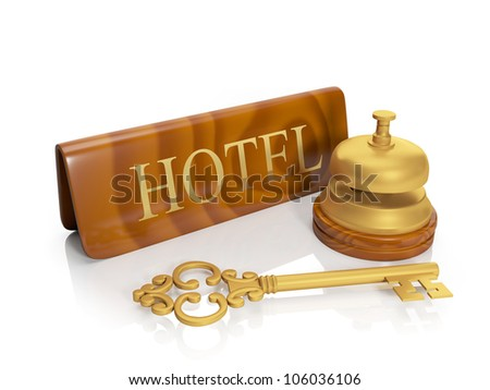 3�¤ illustration: Hotel hotel inscription and call, delivery of numbers, housing - stock photo