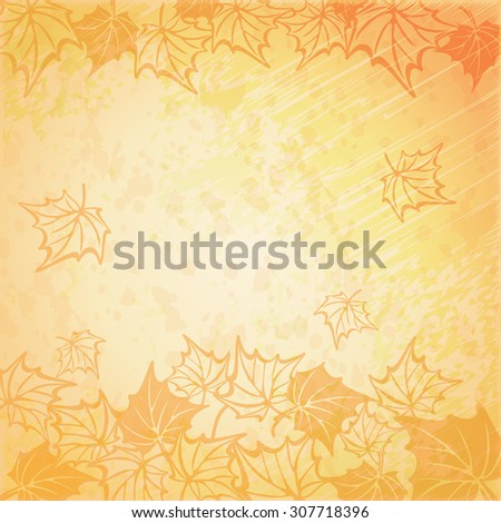 illustration of a beautiful autumn background. fall maple leaf - stock photo