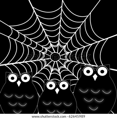 illustration of a black cartoon owl silhouette and spider web - stock photo