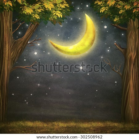 Illustration of a forest and fantastic moon with  stars   at night sky  - stock photo