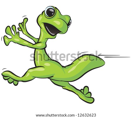 illustration of a gecko running from something.