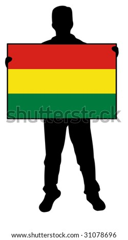 illustration of a man holding a flag of bolivia