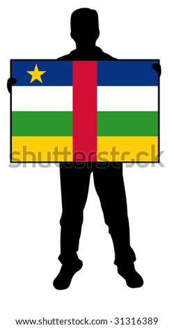 illustration of a man holding a flag of central african republic