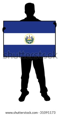 illustration of a man holding a flag of el salvador - stock photo