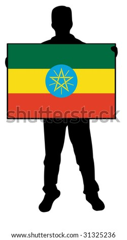 illustration of a man holding a flag of ethiopia