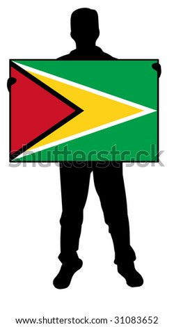 illustration of a man holding a flag of guyana