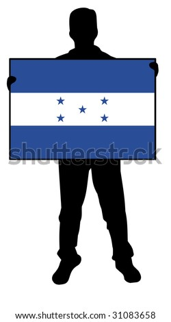 illustration of a man holding a flag of honduras - stock photo