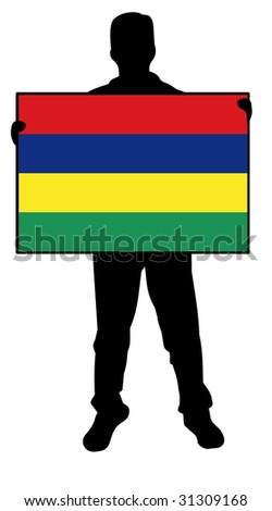 illustration of a man holding a flag of mauritius