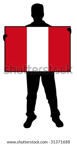illustration of a man holding a flag of peru - stock photo