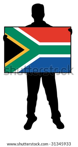 illustration of a man holding a flag of south africa