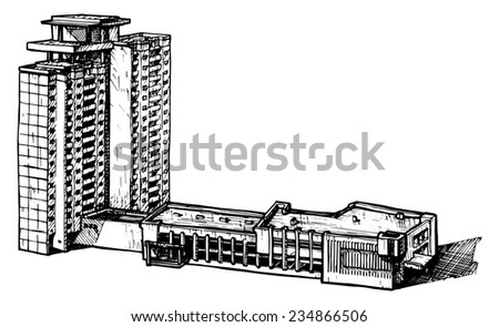 illustration of a multi-storey building  stylized as engraving