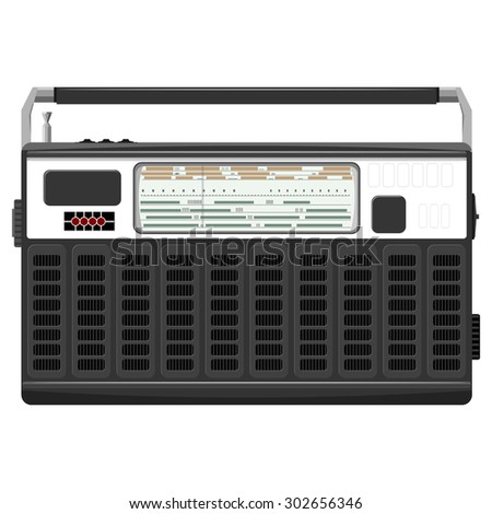 illustration of a portable radio in a black casing.  - stock photo