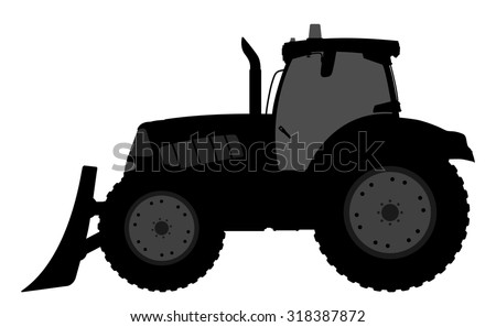 illustration of a silhouette of a tractor on a white background.
