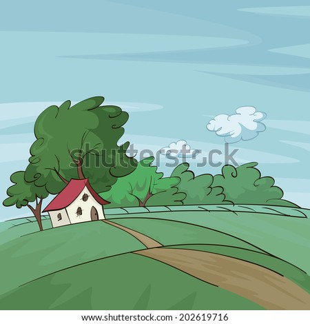 illustration of a summer landscape