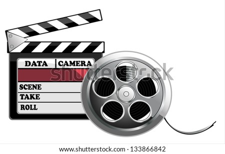 illustration of black clapper board for film, movie and cinema production isolated on white background