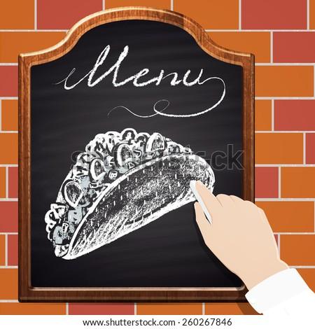 Illustration of chalk painted tacos on blackboard and bricks background. Menu theme. - stock photo