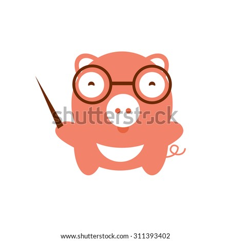 illustration of cute pig.  illustration of cartoon farm animal. Cute animal boar teacher. School image piggy teacher glasses. Funny character baby pig - stock photo