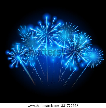 Illustration of Fireworks, Salute on a Dark Background