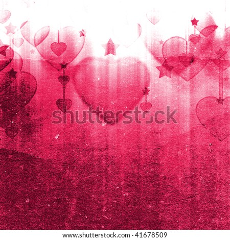 illustration of hearts and stars on the grunge texture - stock photo