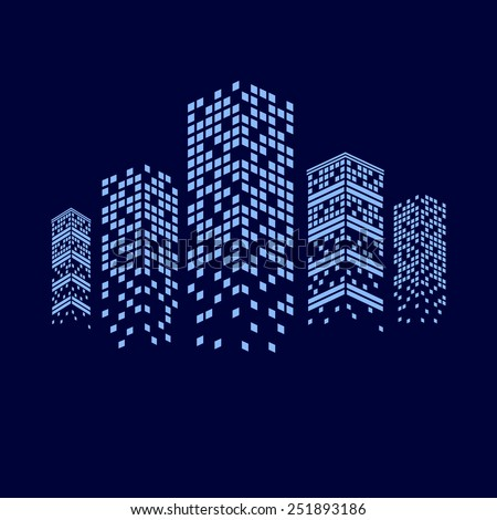 illustration of night city with skyscrapers - stock photo