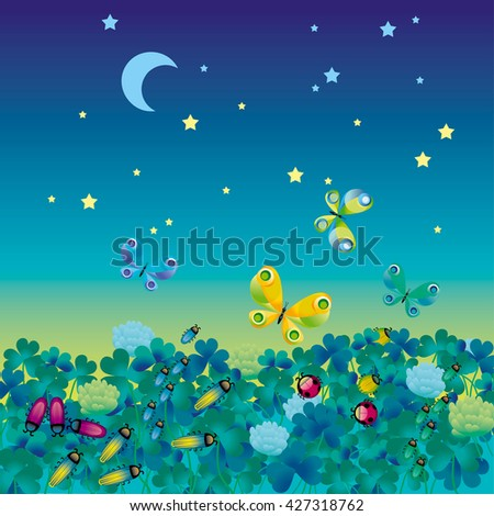 illustration of night meadow with bugs - stock photo