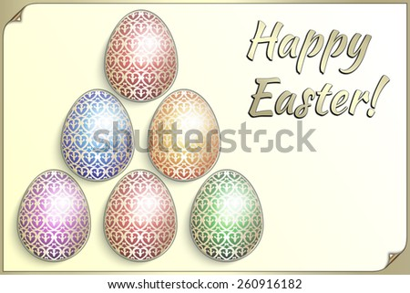 illustration of ornated Eastern eggs collection greeting card template