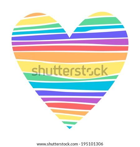 Illustration of  Rainbow heart - stock photo