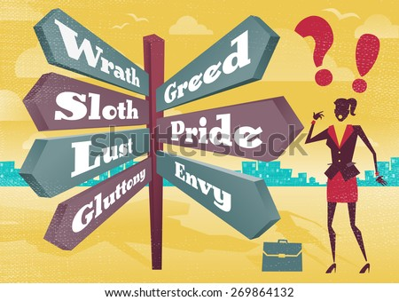 illustration of Retro styled Businesswoman with a selection of Business related options with the theme of the Seven Deadly Sins and choices to make.  - stock photo