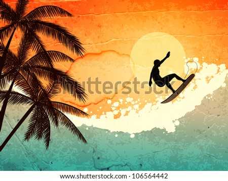 illustration of tropical sea, surfer and  palms at sunset - stock photo