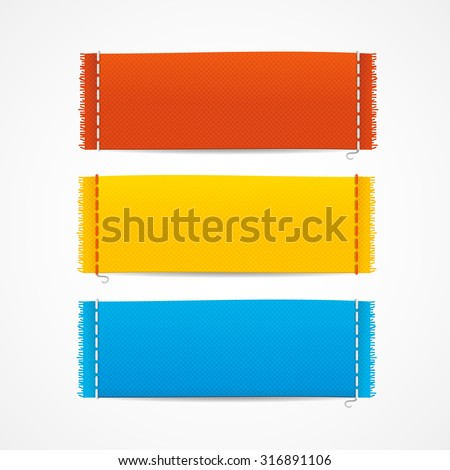 illustration realistic fabric clothing labels set, blank empty horizontal - stock photo