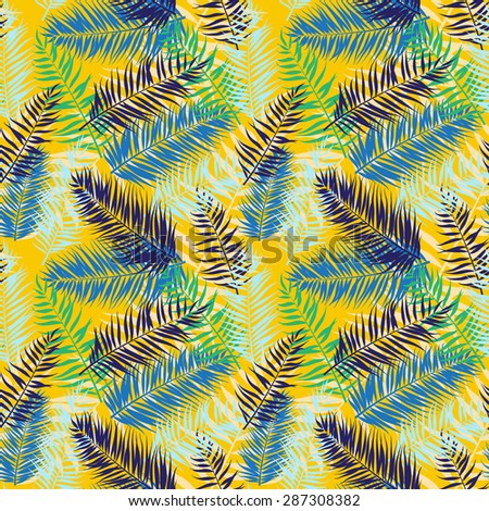 illustration Seamless color palm leaves pattern