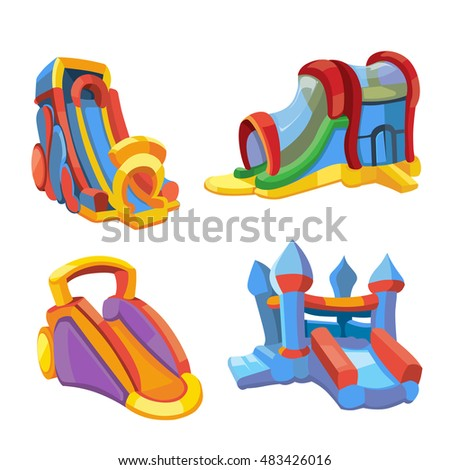 illustration set of inflatable castles and children hills on playground. Pictures in modern flat style, isolate on white background