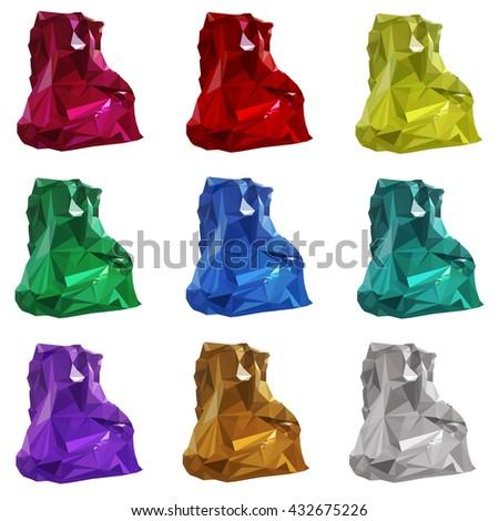 illustration. set of multicolored gemstones, crystals of diamond, amethyst, ruby, emerald, Topaz, citrine. - stock photo