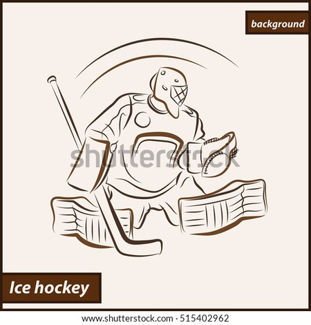 ?Illustration shows a hockey goalkeeper in action. Ice Hockey