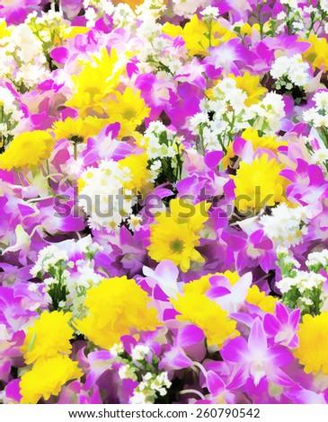 illustration summer flowers - stock photo