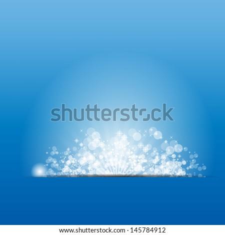 illustration sun on blue background. - stock photo