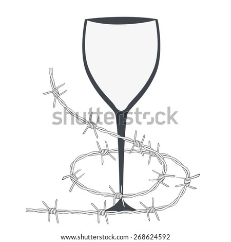 illustration with glass and barbed wire - stock photo