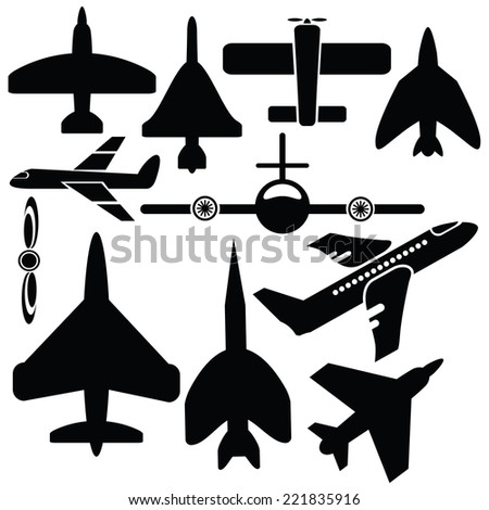 illustration with silhouettes airplane icons  on  a white background - stock photo