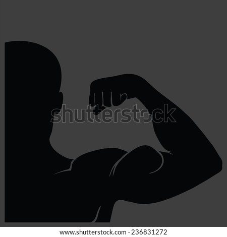 illustration  with strong man silhouette on grey background - stock photo