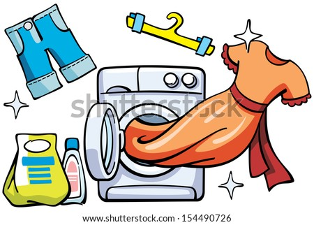illustration with washer and clean clothes - raster copy of vector file